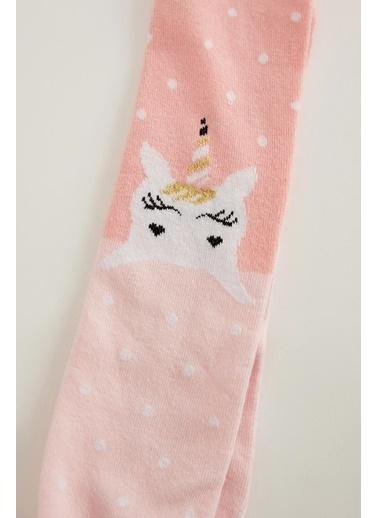 DeFacto Kız Çocuk Unicorn Desenli Külotlu Çorap Pembe